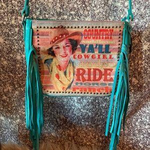 Turquoise Montana West shoulder purse
